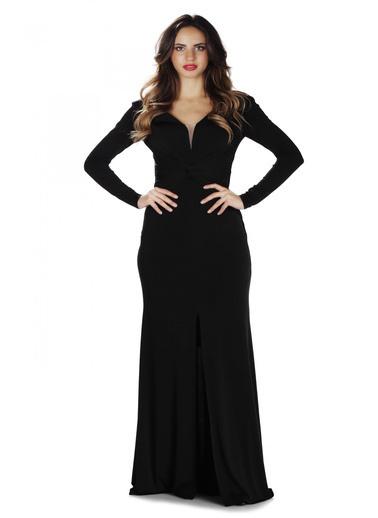 Pierre Cardin Siyah İthal Krep Uzun Kollu Abiye Elbise Siyah